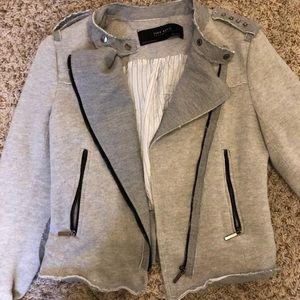 Gray distressed zipper Zara blazer